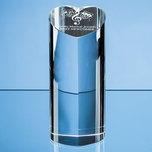 Personalised 18cm Optical Crystal Heart Column Award