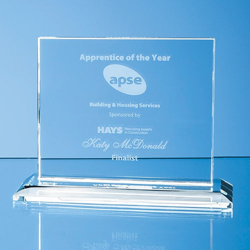 Personalised 9cm x 12cm x 12mm Clear Glass Horizontal Rectangle Award