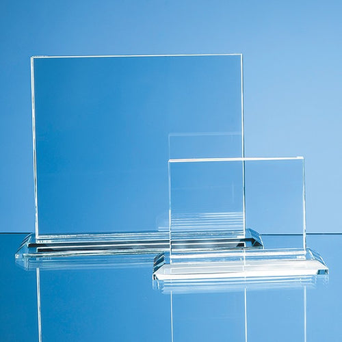 Personalised 17.5cm x 20cm x 12mm Clear Glass Horizontal Rectangle Award