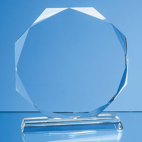 Personalised 15cm x 15cm x 15mm Clear Glass Facetted Octagon Award
