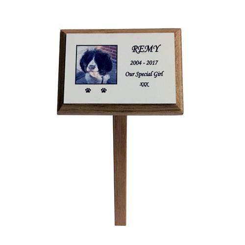 Wooden Oak Photo Pet Memorial Plaque