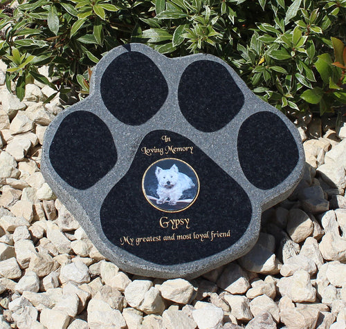 10 Inch Black Granite Paw Print Photo Pet Memorial