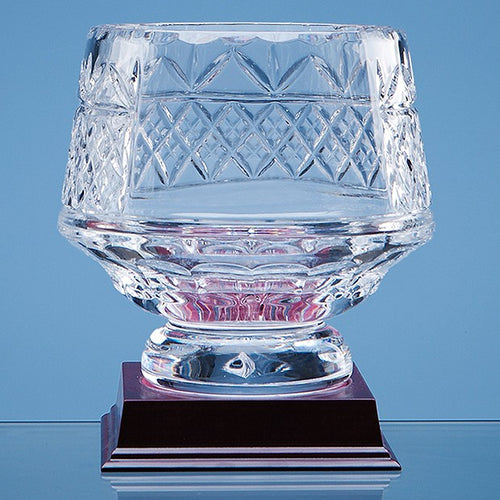Personalised 15cm Lead Crystal Panelled Heeled Bowl