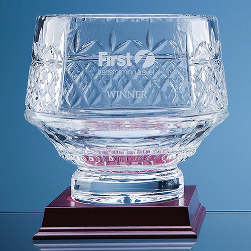 Personalised 18cm Lead Crystal Panelled Heeled Bowl