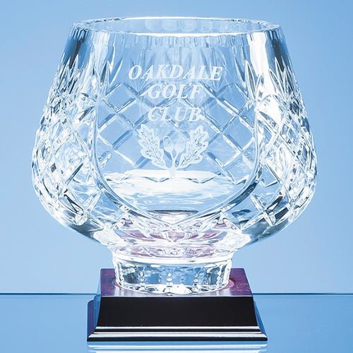 Personalised 18cm Lead Crystal Panelled Tulip Bowl