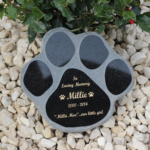 10 Inch Black Granite Paw Print Pet Memorial