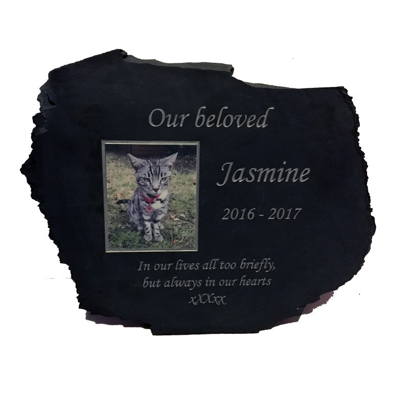 Natural Slate Pet Memorial Stone With Photo
