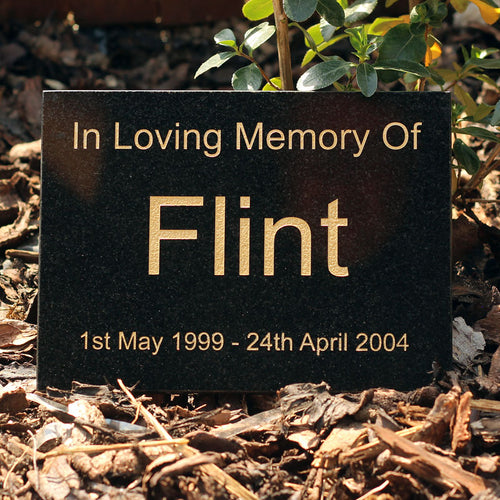 Black Granite Text Pet Memorial Range