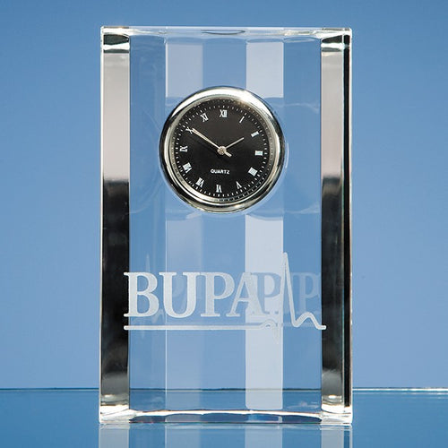 Personalised 11cm Optical Crystal Scalloped Clock