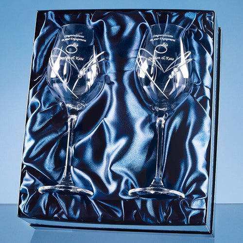 Personalised Heart Cut Wine Glass Set In Satin Box