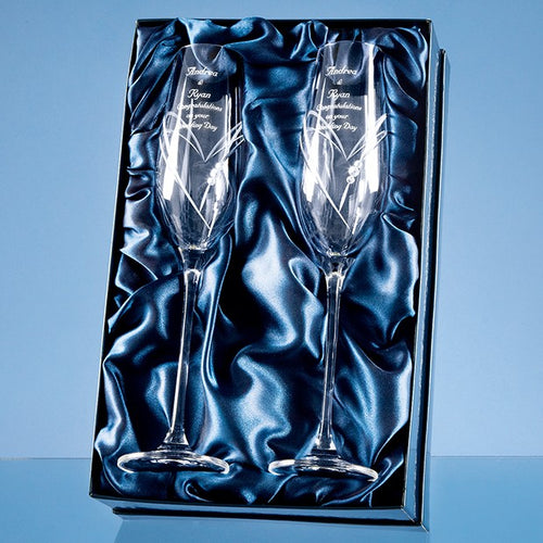 Personalised Heart Cut Champagne Flutes In Satin Box