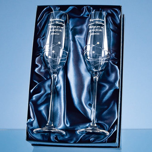 Personalised Spiral Cut Champagne Flute Glass Set