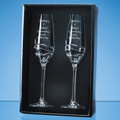 Personalised Modena Champagne Flute Set