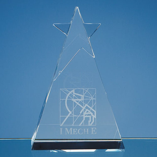 Personalised 15cm Optical Crystal Star Triangle Award