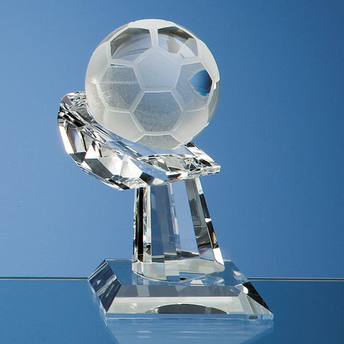 Personalised 6cm Optical Crystal Football on Mounted Hand Award