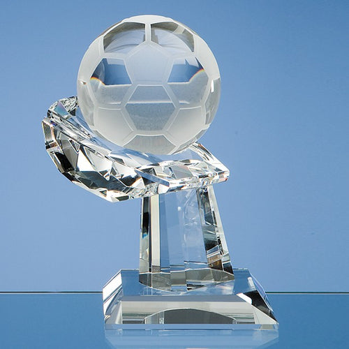 Personalised 8cm Optical Crystal Football on Mounted Hand Award