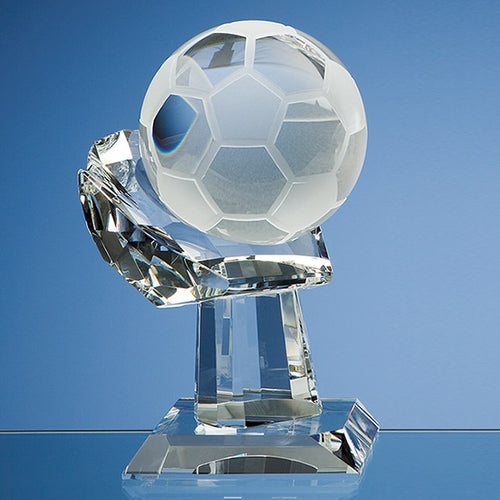 Personalised 10cm Optical Crystal Football on Mounted Hand Award