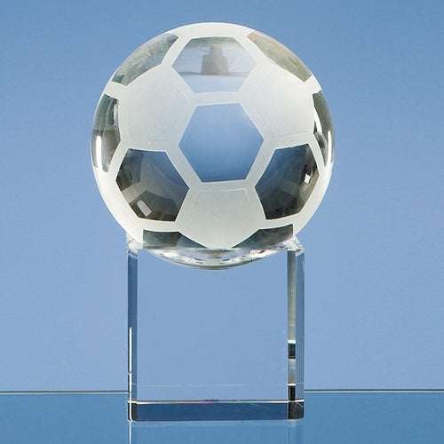 Personalised 8cm Optical Crystal Football on a Clear Crystal Base