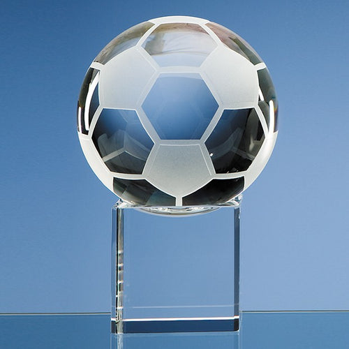 Personalised 10cm Optical Crystal Football on a Clear Crystal Base