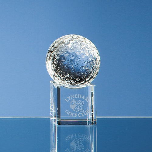 Personalised 5cm Optical Crystal Golf Ball on a Clear Crystal Base