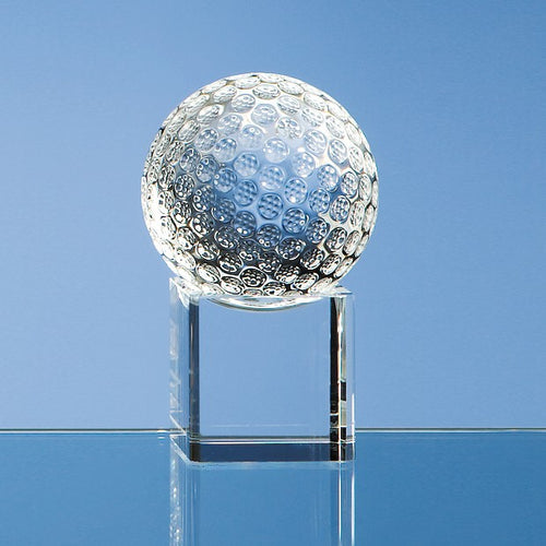 Personalised 6cm Optical Crystal Golf Ball on a Clear Crystal Base