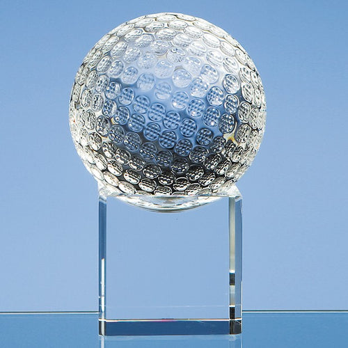 Personalised 10cm Optical Crystal Golf Ball on a Clear Crystal Base
