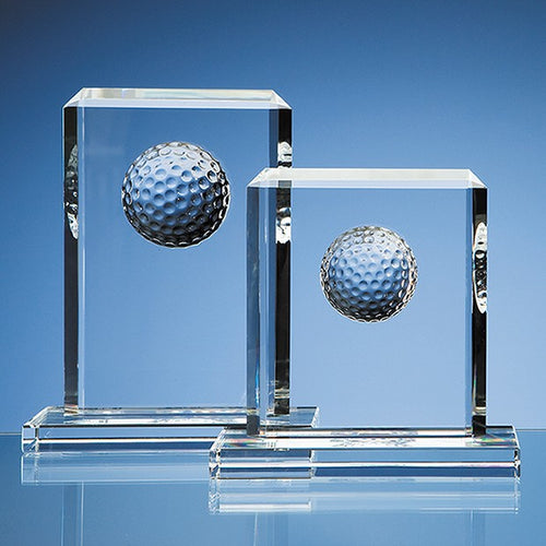 Personalised 19cm Optical Crystal Golf Ball Rectangle Award