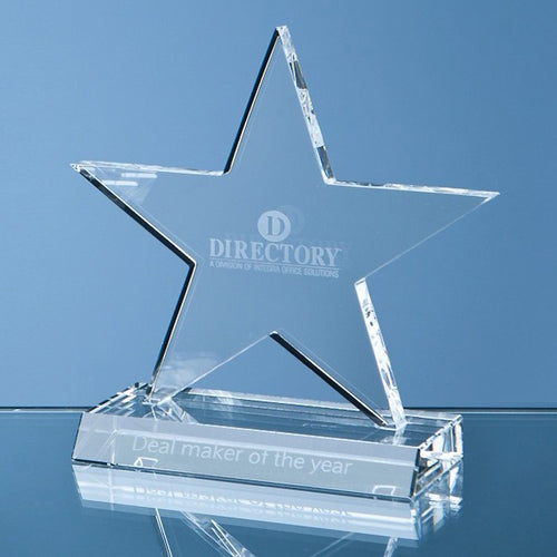 Personalised 13cm Optical Crystal 5 Pointed Star on Base Award