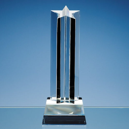 Personalised 24cm Optical Crystal 5 Pointed Star Column Award
