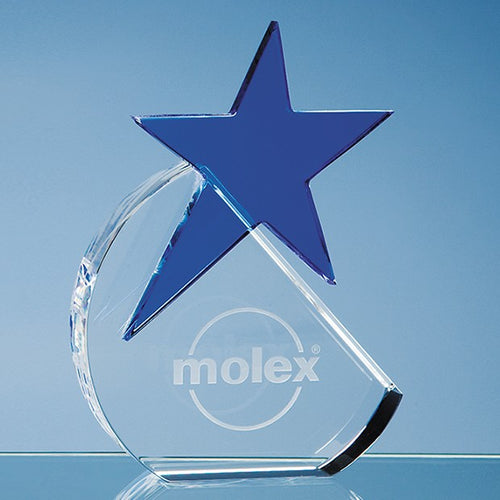 Personalised 15cm Optical Crystal Circle with a Cobalt Blue Star Award