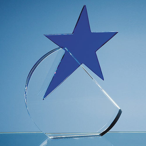 Personalised 17.5cm Optical Crystal Circle with a Cobalt Blue Star Award