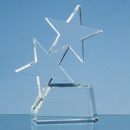 Personalised 20cm Optical Crystal Double Rising Star Award