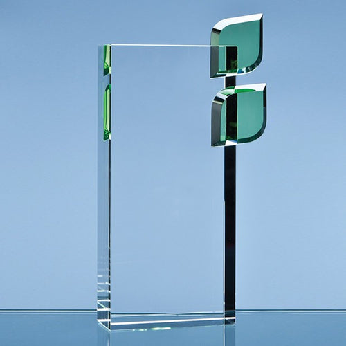 Personalised 22cm Optical Crystal 'Eco Excellence' Award with Double Green Leafs
