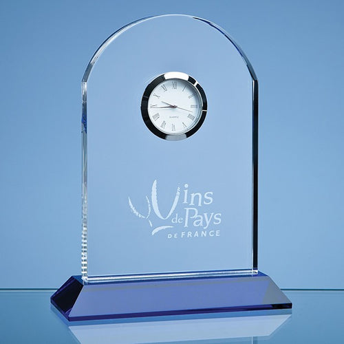 Personalised 16cm Optical Crystal Arch Clock Mounted on a Cobalt Blue Base