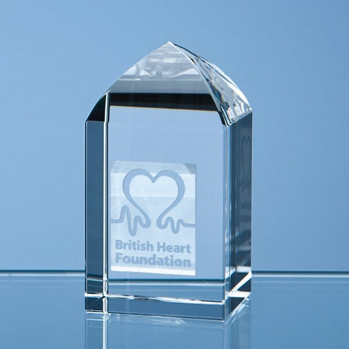 Personalised 7.5cm Optical Crystal Mini Tower Rectangle
