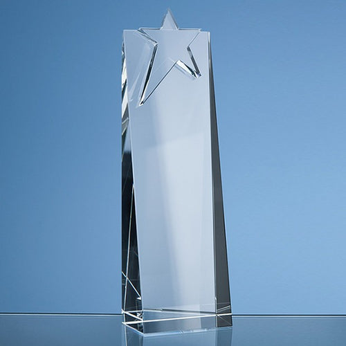 Personalised 24cm Optical Crystal Star Rectangle Award