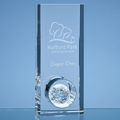 Personalised 20cm Optical Crystal Golf Ball in the Hole Award