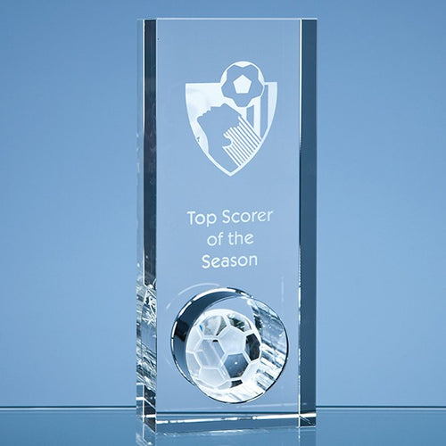 Personalised 20cm Optical Crystal Football in the Hole Award