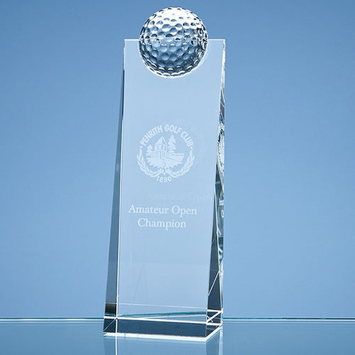 Personalised 21cm Optical Crystal Golf Ball Rectangle Award
