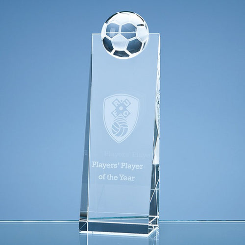 Personalised 21cm Optical Crystal Football Rectangle Award