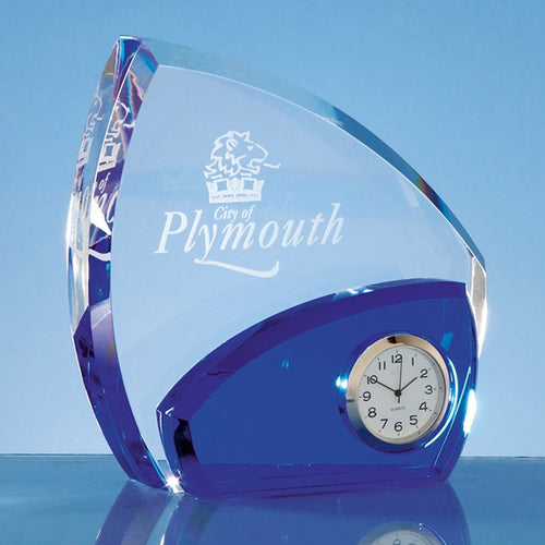 Personalised 13.5cm Optical Crystal Clear & Cobalt Blue Clock