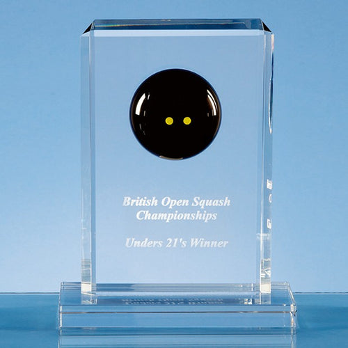 Personalised 19 cm Crystal Squash Ball Rectangle Award