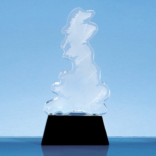 Personalised 20cm Optical Crystal UK Silhouette Award on an Onyx Black Base