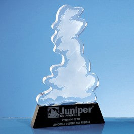 Personalised 25cm Optical Crystal UK Silhouette Award on an Onyx Black Base