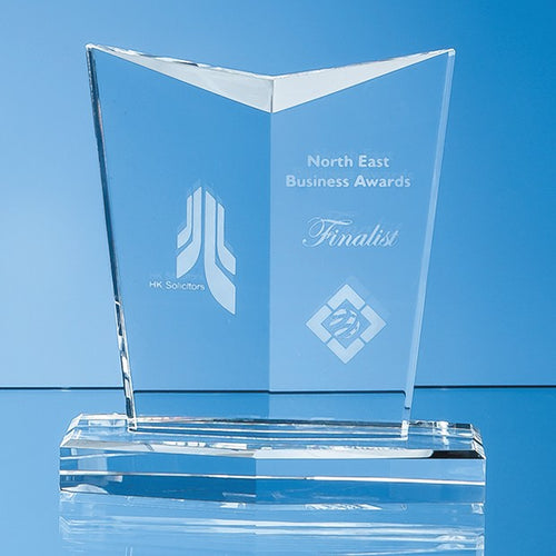 Personalised 13cm Optical Crystal Facetted Shield Award