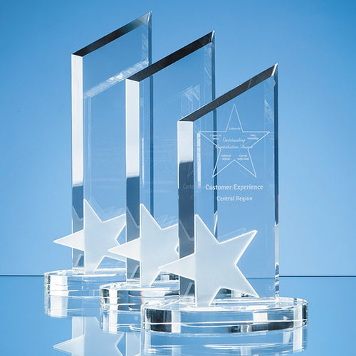 Personalised 30cm Optical Crystal Peak with Frosted Star Award