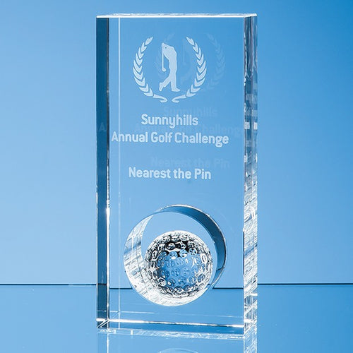 Personalised 17cm Optical Crystal Golf Ball in the Hole Award