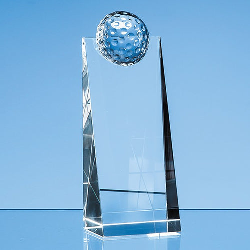 Personalised 18cm Optical Crystal Golf Ball Rectangle Award