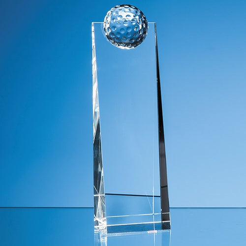 Personalised 24cm Optical Crystal Golf Ball Rectangle Award