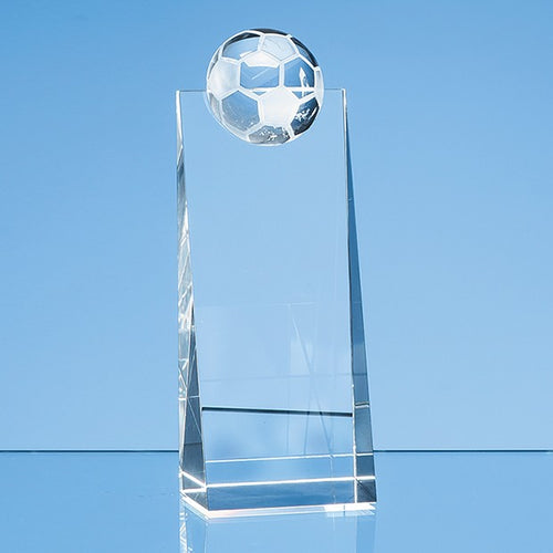 Personalised 18cm Optical Crystal Football Rectangle Award